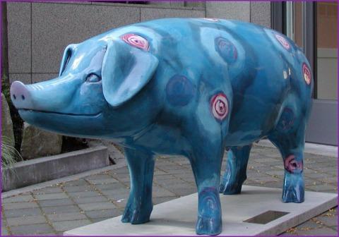 blue rose pig