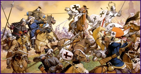 mongol horsemen polish crusader knights battle